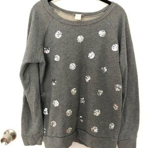 Loft Sequin Polka Dot Sweatshirt